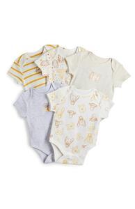 """Kurzärmelige """"Winnie Puuh"""" Bodys für Neugeborene, 5er-Pack"""