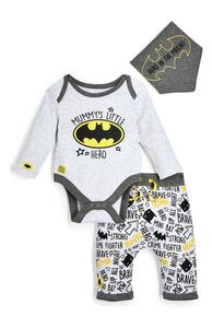 """Graues 3-teiliges """"Batman"""" Set mit Leggings, Body und Lätzchen für Neugeborene (J)"""