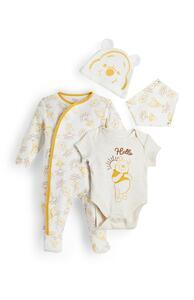 """Gelb-cremefarbenes 4-teiliges """"Winnie Puuh"""" Outfit für Neugeborene"""