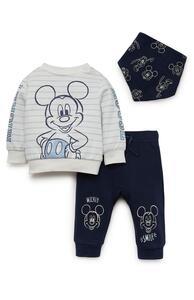 """3-teiliges """"Disney Micky Maus"""" Set mit Rundhalspullover, Jogginghose und Halstuch für Neugeborene"""
