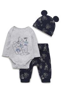 """3-teiliges """"Disney Micky Maus"""" Set mit Body, Leggings und Mütze für Neugeborene (J)"""