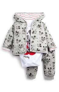 "Grauer ""Micky Maus"" Trainingsanzug mit Kapuze für Babys (J), 3-teiliges Set"