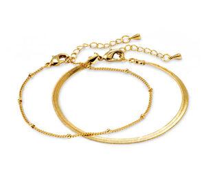 Layer-Armband – Herringbone- und Kugelkette