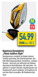 "Bügeleisen/Dampfglätter ""Phönix GoldFree Flight"""