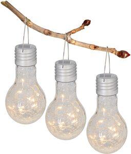 näve LED Gartenleuchte, Solarleuchte aus Glas in Glühbirnenform