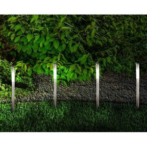 Näve LED-Solar Weg-Außenleuchte mit Erdspieß Grau 6er-Set