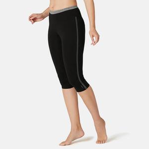 3/4-Leggings aus dehnbarer Baumwolle Fitness schwarz