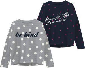 Langarmshirt NKFVALTINE Doppelpack , Organic Cotton grau Gr. 158/164 Mädchen Kinder