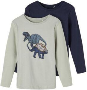 Langarmshirt NMMROLLOS Doppelpack , Organic Cotton hellgrün Gr. 98 Jungen Kleinkinder