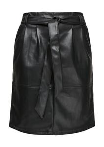 Damen Leder-Look-Rock mit Bindegürtel