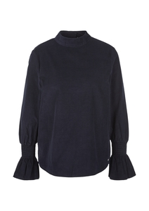 Damen Feincord-Bluse mit Smok-Detail