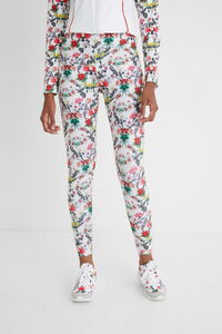 Knöchellange Slim Fit-Leggings mit Blumen