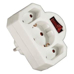 3-fach Steckdosen Adapter mit Schalter, weiß
