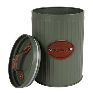 Metall-Vorratsdose mit Ledergriff 13,5x21cm Olivgrün