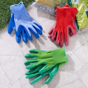 Powertec Garden Gartenhandschuhe, Größe XL - Blau/Rot/Grün, 3er-Set