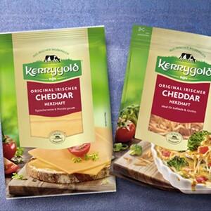 Kerrygold Irischer Cheddar in Scheiben oder gerieben Irischer Hart- und Schnittkäse, 48/50 % Fett i. Tr., versch. Sorten, jede 150-g-Packung