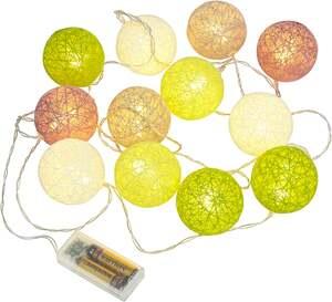 IDEENWELT LED-Lichterkette mit Textilkugeln