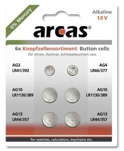 Alkaline Knopfzellensortiment 6-teilig
