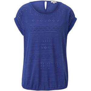 Tom Tailor T-Shirt, Rundhals, Lochspitze, uni, für Damen