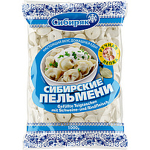 Handgemachte Teigtaschen nach Sibirischer Art mit Schweine- ...