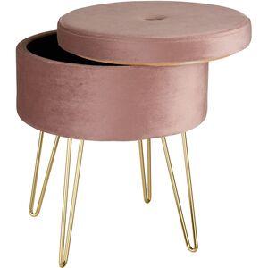 Sitzhocker Ava gepolstert in Samtoptik 300kg mit Stauraum rosa