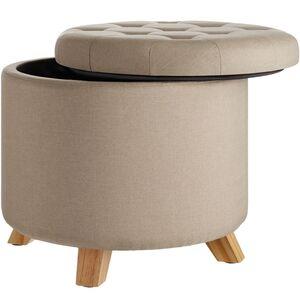 Sitzhocker Suna in Leinenoptik 150kg mit Stauraum sand