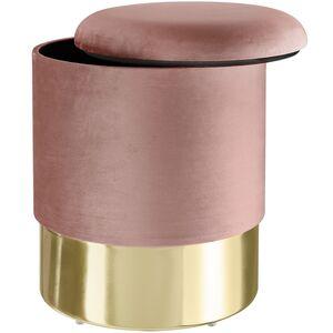 Sitzhocker Sarina gepolstert in Samtoptik 300kg mit Stauraum rosa