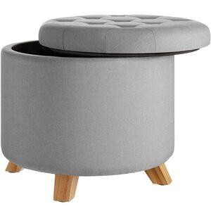 Sitzhocker Suna in Leinenoptik 150kg mit Stauraum hellgrau