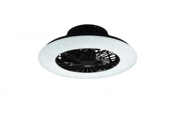 Reality LED Deckenleuchte Stralsund mit Ventilator inkl. Fernbedienung, weiß/schwarz, Ø 50 cm