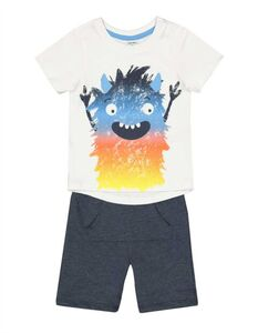 Baby Pyjama Set aus Shirt und Shorts - Print