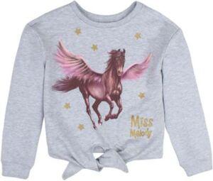 Miss Melody Sweatshirt mit Knotendetail  grau Gr. 116 Mädchen Kinder