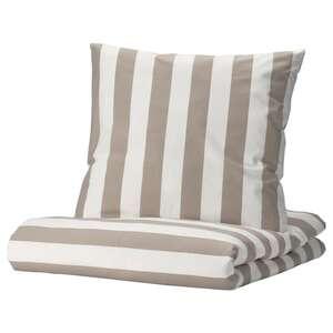 BÄRALM Bettdeckenbezug + Kissenüberzug, weiß beige/Streifen