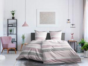 Dobnig Satin Bettwäsche »Querstreifen dunkelrosa«, 135x200 cm oder 155x220 cm, aus Baumwolle