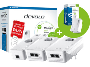 DEVOLO Magic 2 WiFi next Multiroom Kit + Wifi Repeater ac Powerline Adapter 2400 Mbit/s Kabellos und Kabelgebunden