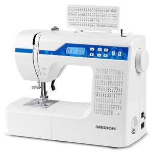 MEDION Digitale Nähmaschine MD 15694, Knopflochautomatik, 100 Stiche, 100 Alphabetstiche, 69 Doppel-Nadel-Stiche, LED-Nählicht, umfangreiches Zubehör