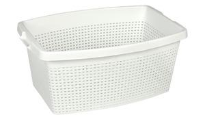 Wäschekorb 40 Liter - weiß - Kunststoff - Sconto