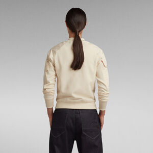 Cropped Bomber Mix Zip Through Sweatshirt