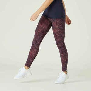 Leggings Fitness Baumwolle Fit+ Damen blau/orange mit Print
