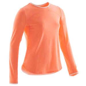 Langarmshirt 500 Gym Baumwolle atmungsaktiv Kinder koralle