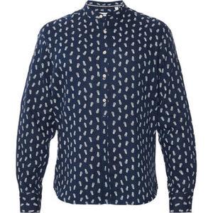 MANGUUN Leinenhemd, Stehkragen, Ananas-Print, für Herren