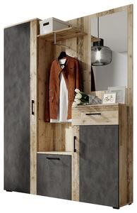 Garderobe in Anthrazit/Eiche ´TRIO B:145CM EICHE/ANTHRAZIT´