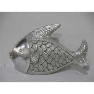 Deko-Figur, Fisch, ca. 53 x 13 x 32 cm, Magnesium, silber