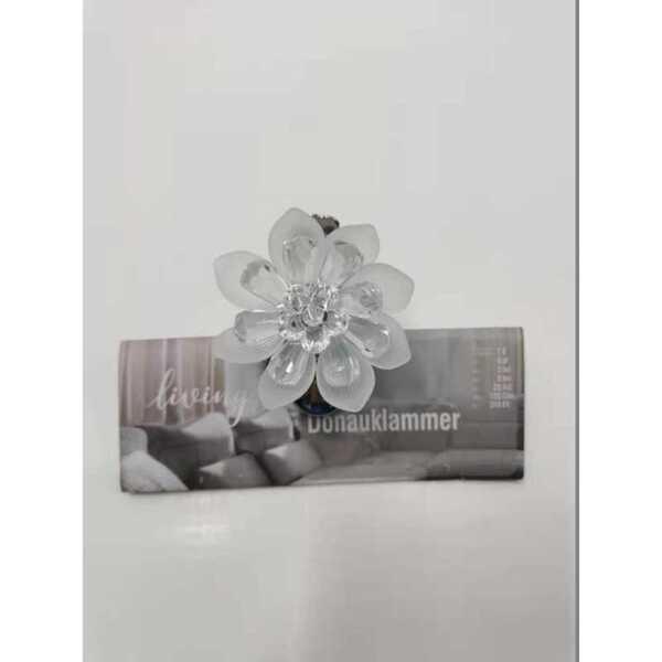 Gardinenklammer mit Blumen Design, transparent, 6,50 x 5,00 x 5,50 cm