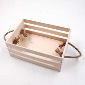 Holzbox Holzkiste Deko Box mit Kordelgriffen, ca. 21 x 14 x 8,5 cm