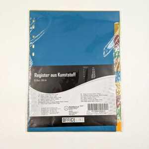 10 Registerkarten/Farbregister, A4, farblich sortiert, 11er-Lochung, Kunststoff