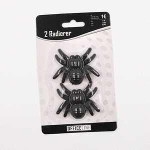 2 Radiergummis/Radierer in Spinnen-Form, schwarz, ca. 5 x 6 cm