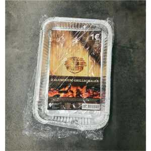 2er Pack BBQ Aluminium Grillschale zum Grillen/Kochen, ca. 31,5 x 21,5 x 4,4 cm