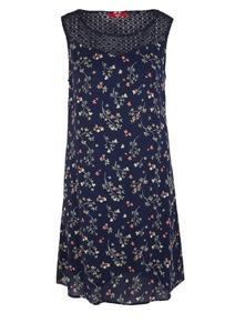Damen Crêpe-Kleid mit Spitzenpasse