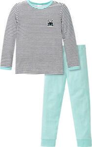 Schiesser Frottee Kinder-Schlafanzug Natural Love  Streifen#Tiermotive langarm#lange Hose 116