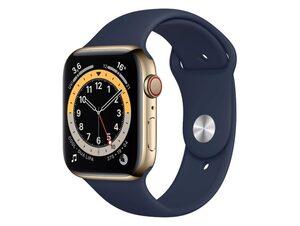 Apple Watch Series 6, Cellular, 44 mm, Edelstahl gold, Sportband dunkelmarine
